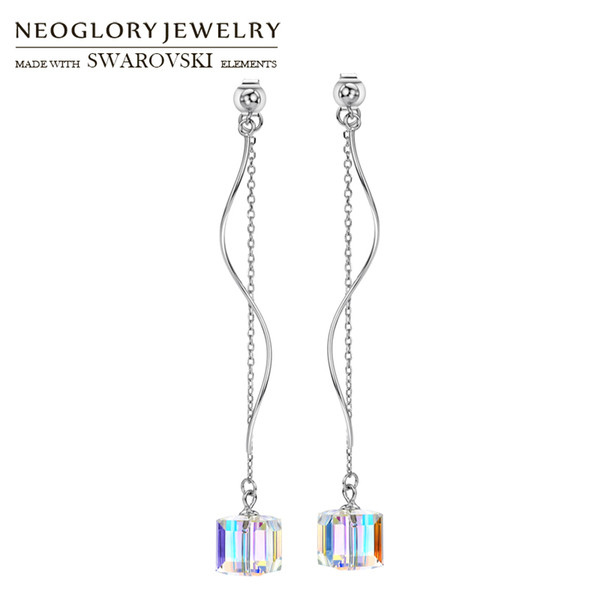 wholesale Austria Crystal & S925 Silver Plated Long Dangle Earrings Allergy Free Geometric Square Style Gorgeous Women Classic