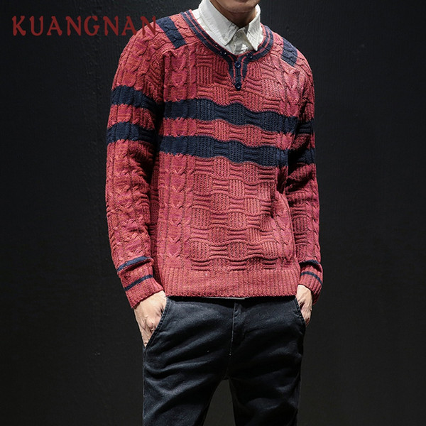 KUANGNAN Red Knitted Pullover Sweater Men Wear Striped Plus Size Sweater Men Cotton Pullover Male 2018 Winter New