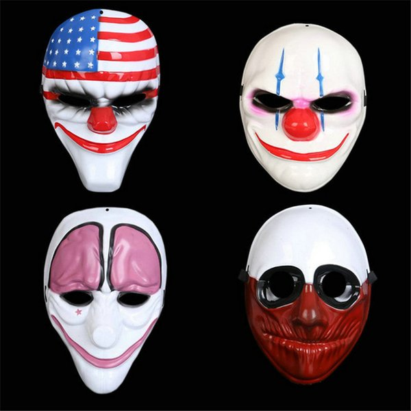 Halloween Horror Mask Payday 2 Mask Newest Topic Game Series Plastic Old Head Clown Flag Red Head Masquerade Supplies QB366127