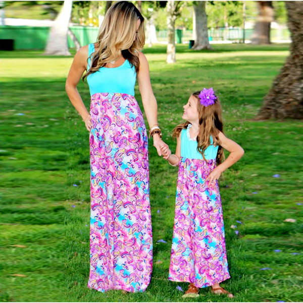 Mother Daughter Dresses Family Matching Outfits Clothes Patchwork Print Baby Girl and Mom Dress Beach Casual Sundress