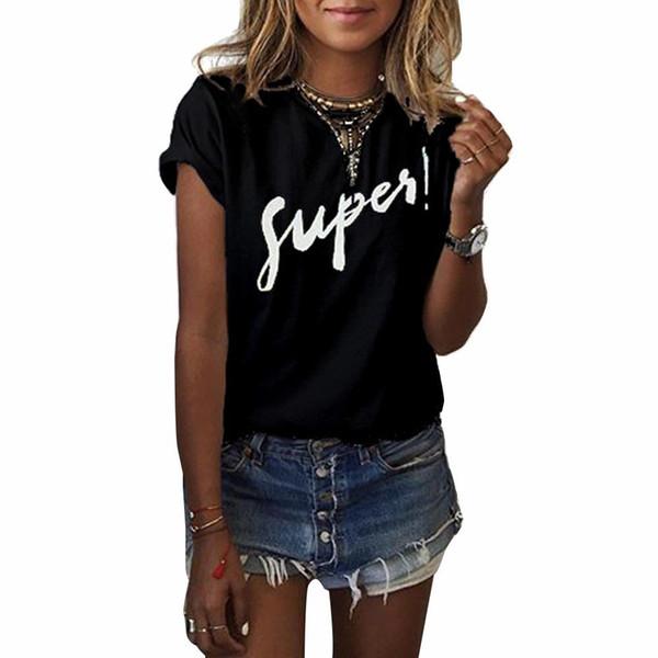 Verano Para Súper Camiseta Tops Mujer De Casual Compre qXUFwF