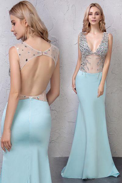 Moda elegante vestidos de las niñas con cuello en V con rebordear Bling ver a través de la sirena superior del partido largo vestidos formales de noche para las mujeres vestidos de baile