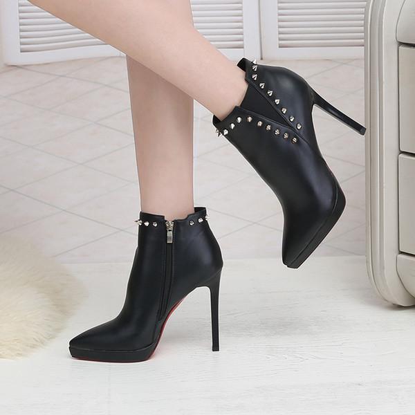 Bottines pour femmes talons hauts rivet sexy bout pointu chaussures dames automne hiver noir plate-forme stiletto rouge bottes botas mujer