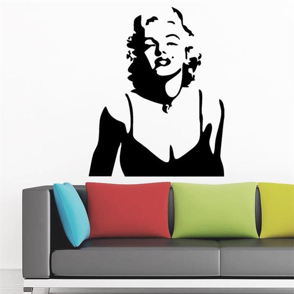 carta adesiva Marilyn Monroe decorazioni labbra rosse adesivi murali Decorazioni per la casa Decalcomanie decorative soggiorno adesivi murali carta da parati