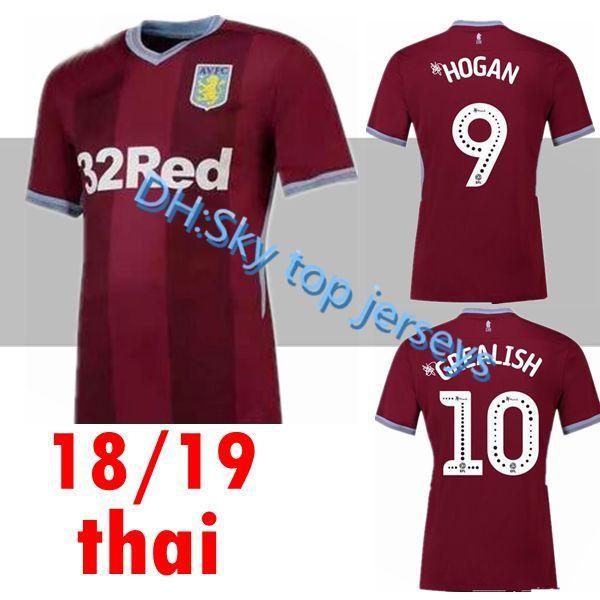 pretty nice d5931 8fc53 2018 New Aston Villa Soccer Jersey 18 19 Home Red Away White 2018 2019  Sweatshirt Football Shiirts Camiseta De Futboll From Skywar9999, $16.09    ...
