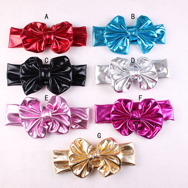 Baby Girls Shine Bow Headbands Europe Style Big Wide Bowknot Hair Band 7 Colors Children Hair Accessories Kids Headbands Hairband