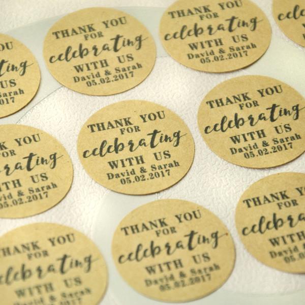 Tag naturais feitos sob encomenda de Kraft do casamento do Tag do favor do casamento de papel de embalagem, selos personalizados do envelope da etiqueta, etiquetas personalizadas do envelope