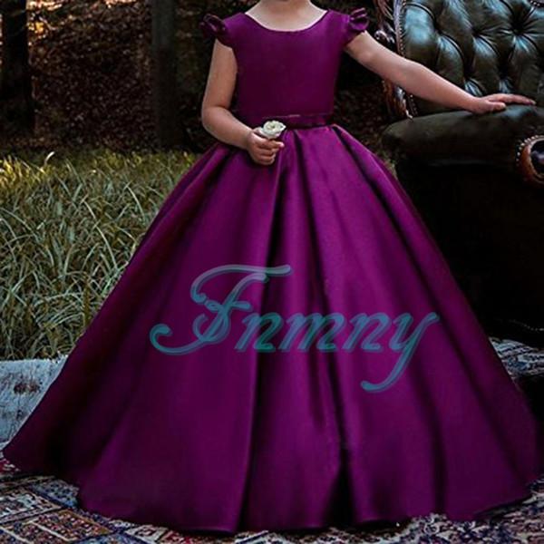 2f507c8a7 2018 New Adorable Purple Satin Flower Girl Dresses Ball Gown Girls First  Communion Dress Kids Wedding