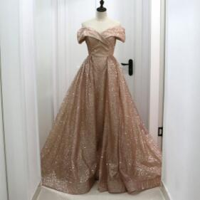 Rose Gold Sequins Dubai Evening Dress with Detachable Train 2018 Elegant Off Shoulder Sparkly Arabic Overskirt Prom Dresses Long