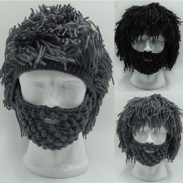 Winter Crochet Mustache Hat Beard Beanies Handmade Knitted Men Face Tassel Bicycle Mask Ski Warm Cap Funny Hat Gift TO984