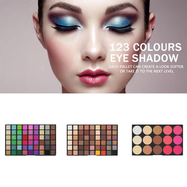 Matte Shimmer Paleta de Sombra de Ojos Brillante Maquillaje Nude Pigmento de Brillo Smoky Eye Shadow Powder Cosmetic kit de larga duración 123 Color
