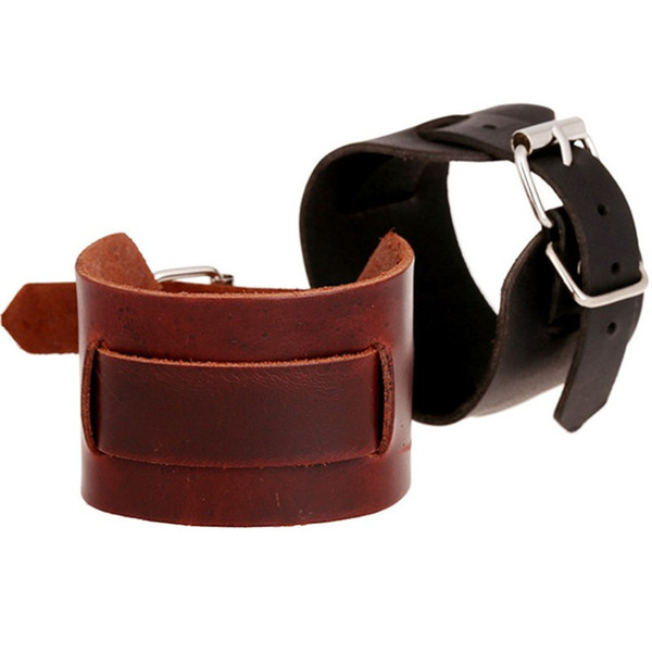 Leather Braided Cuff Bracelet Blanks Black Brown Punk Rock Cowhide Thick Wide Strap Locking Wristband Jewelry Accessory for Men Wholesale