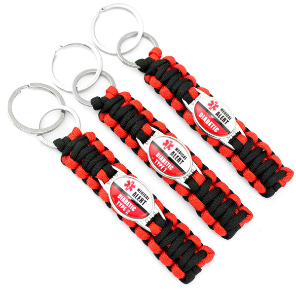 Diabetes Cure MS Warrior Down Syndrome Diabetic Awareness Ribbon Charm Survival Paracord Keychains Key Chains Key Rings
