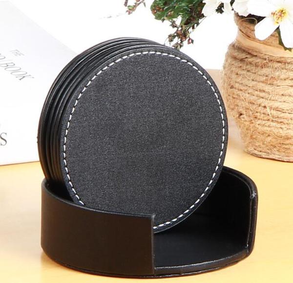PU Luxus Tasse Matte Leder Pads Runde Platz Tischsets Home Tischdekoration Küche Werkzeuge rutschfeste Wasserdichte Pads