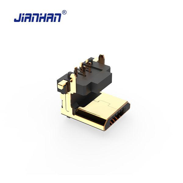 JianHan Mikro USB Konektörü 90 Derece Dikey 5 Pin USB Adaptör Konnektörleri PCB için Mikro 2.0 Adaptörler
