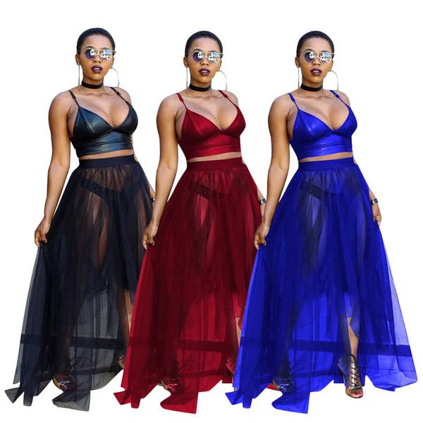 Clubwear Balo Parti Elbiseler Uzun Etek Hollow Out V Yaka Sling Elbise Gece Kulübü seksi mesh uzun etek Iki Adet