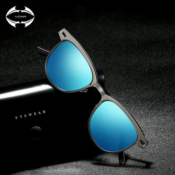 51a11a025efe0 Vcka óculos de sol de alumínio das mulheres dos homens polarizados 2018  uv400 designer de marca