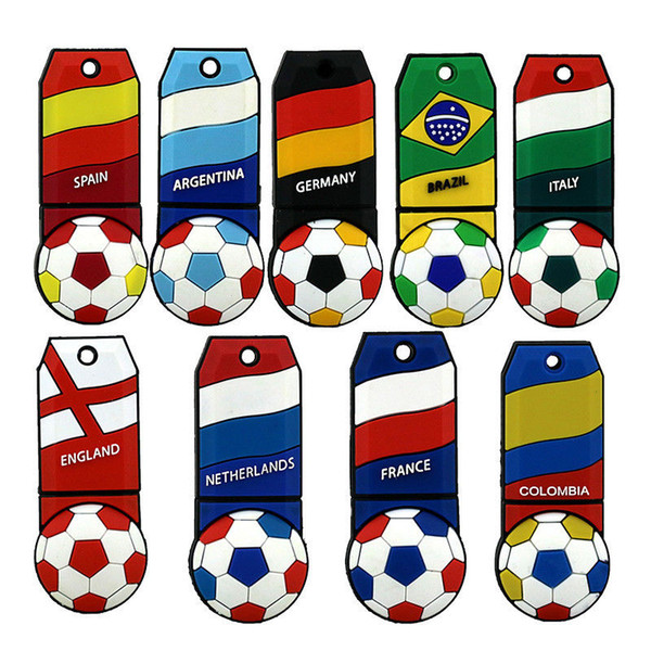 2018 World Cup Cartoon Football Flag 32GB USB Flash Drive Soccer National Team Fans regalo per PC Laptop Macbook Memory Stick