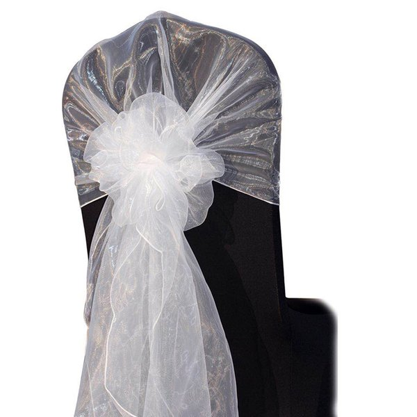 Wholesale 65*275CM Fancy Cheap Snow Organza Wedding Chair Hoods Chair Caps Chair Back Ties Sashes for Wedding Decoration