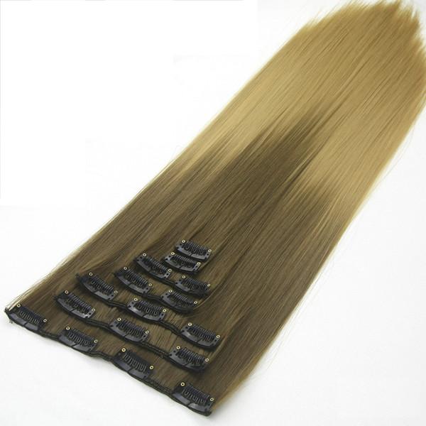 Soowee 24inch 7pcs / set Fibre Synthétique Haute Température Droite Noir Brun Ombre Clip Dans Extensions de Cheveux 16clips Coiffure