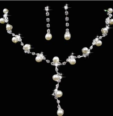 wonderful drops natural pearl diamond lady's necklace earings set (7.5)vbc
