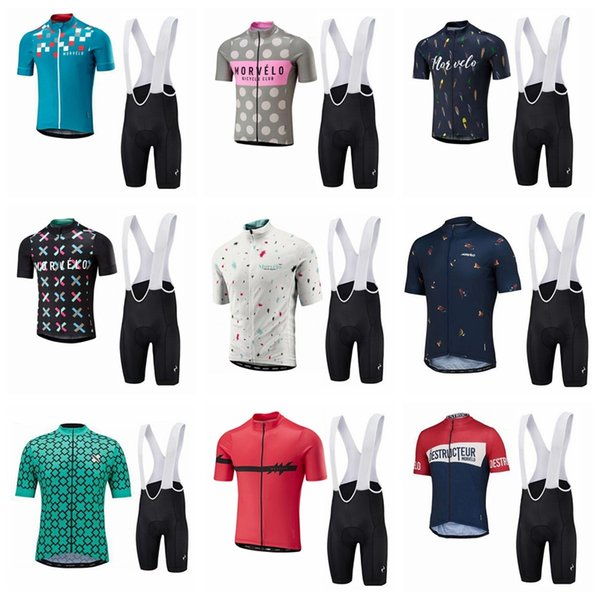Morvelo team Cycling Short Sleeves jersey bib shorts sets 2018 The New high quality quick dry wear bicycle jersey Great value 10809X