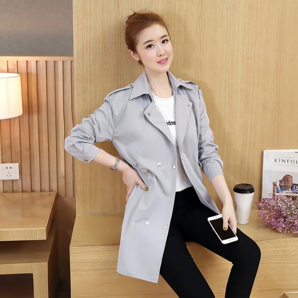 Nuevo diseñador casual mujeres primavera Trench Coat 2018 Elegante Turn-down Collar europeo rompevientos sólido largo Autum Streetwear