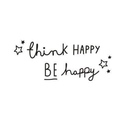 Think Happy Be Happy Letter Quote Wall Sticker Decal PVC Removable Home Decor DIY wall art mural muraux for Living Room Bedroom