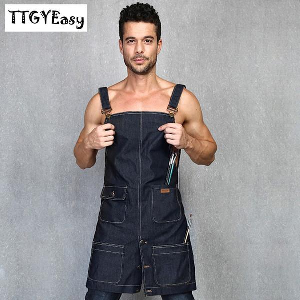 2018 Neue Schürzen Denim Einfache Uniform Unisex Adult Jeans Schürzen für Frau Männer Male Lady Küche Kochen Pinafore Print Logo