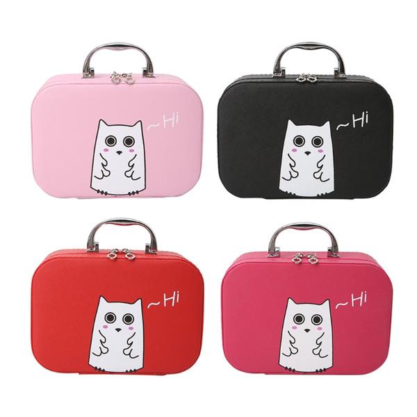 THINKTHENDO Women Cosmetic Case Beauty Box Cute Cats Print PU Leather Makeup Handbag