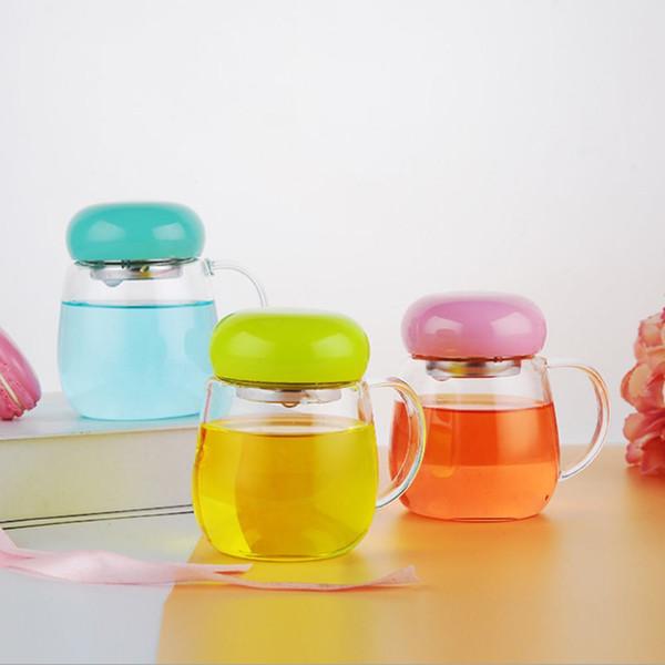 Venta al por mayor Taza de cristal de vidrio de viaje de té portátil de vidrio con mango de pantalla de filtro Estudiante de la oficina Taza de agua Taza de té de limón rosa Tetera