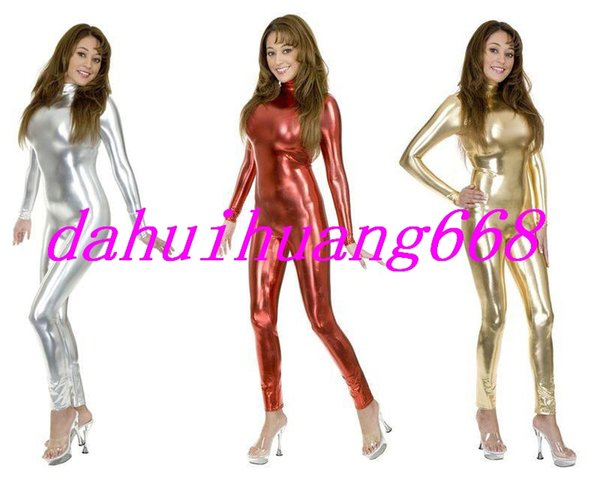 Costumes Sexy Body New 15 couleur brillant Lycra Métallique Costume Catsuit Costumes Unisexe Pas De Tête / Main / Pied Halloween Costumes Cosplay DH013