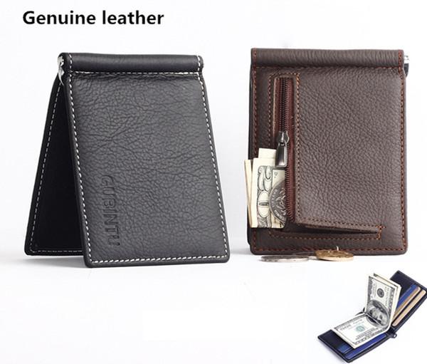 Nuevo hombre de cuero genuino Mini billetera con clips de dinero Monederos para hombre billetera con cremallera Monedero de bolsillo de alta calidad