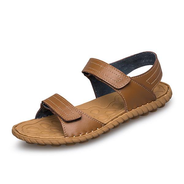 Sandali da uomo in pelle pieno fiore di alta qualità estiva leggeri fatti a mano cuciti cinturino alla caviglia con gancio scarpe da uomo sandali