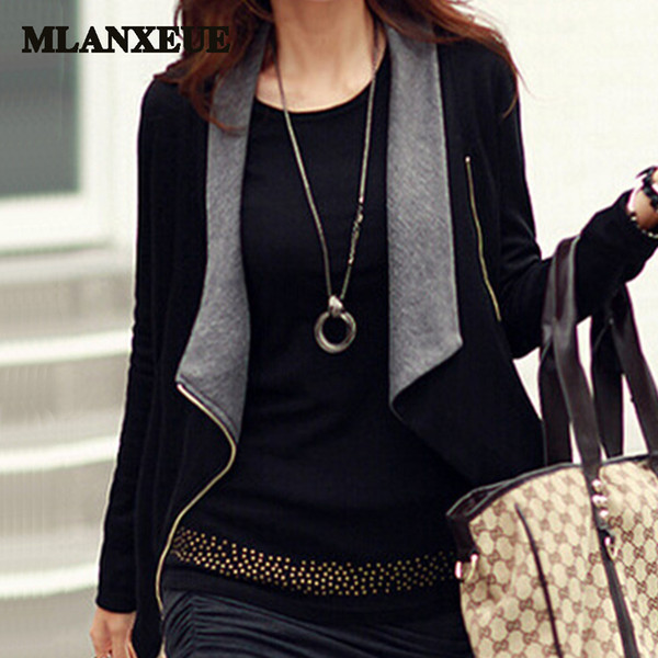 One clothing two style solid scarf collar blazers office work elegant women jackets business lady slim plus size thin suit women