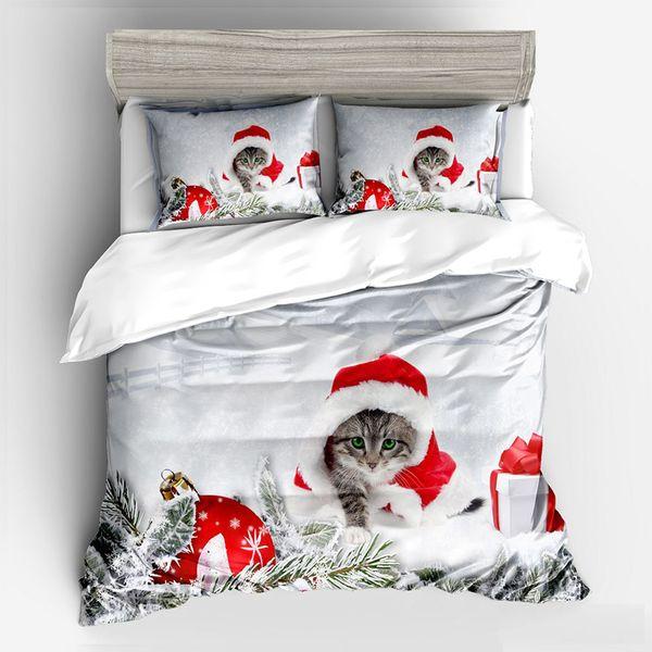 Home Textile Christmas Gift Red Kitten Duvet Cover Pillowcase Bed Sheet Simple Boy Girls Bedding Sets 3/4Pcs Single Double