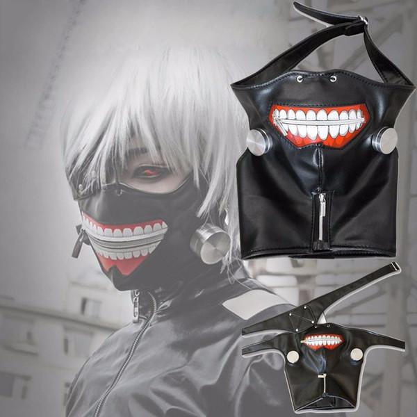 Tokyo Ghoul 2 Kaneki Ken Máscara Ajustável Com Zíper Máscaras de Couro PU Máscara Legal Blinder Anime Cosplay Apuramento de Alta Qualidade