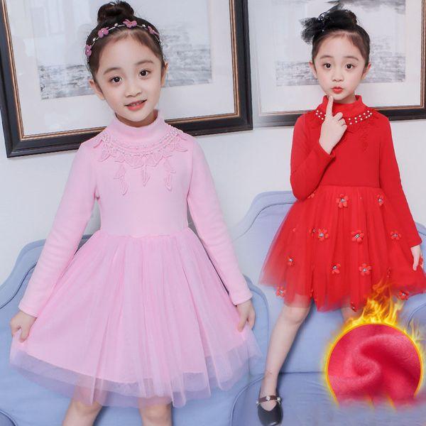 Concours de Noël de bébé enfants vêtements fille robes dentelle vintage fleur filles robe de bal Noël vacances hiver chinois robe rouge tutu # 8059