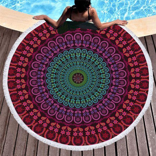 1 Pz Mandala Tassel Tapestry Boho Tovagliolo Rotondo Viola Indiano Toalla Coperta Sunblock Boemia Tappetino Yoga Vendita Calda