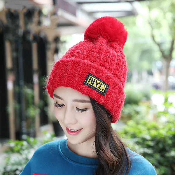 Wholesale Real Mink Lace Pom Poms Knitted Hat Ball Beanies Winter Hat for Women Girl 'S Wool Cotton Skullies Female Cap
