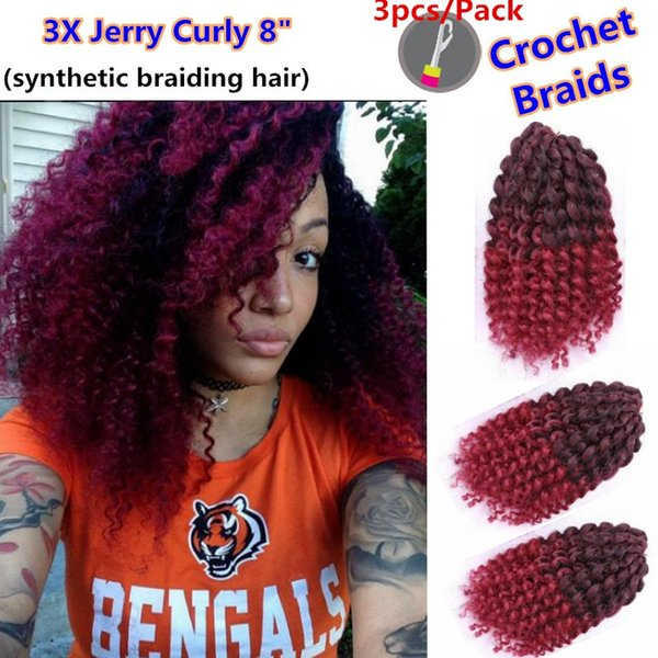 """popular 8"""" Ombre Colored Mali bob Havana Mambo Marley Crochet Braids Twist Afro Jerry Kinky Curly Synthetic Braiding Hair Ombre for balck W"""