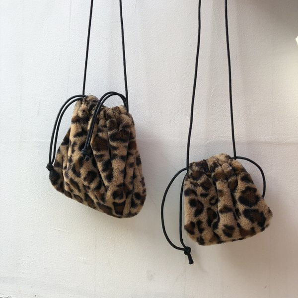Vintage Leopard Bag For Women 2018 Faux Fur Winter Crossbody Bags Female Drawstring Mini Shoulder Bags Phone Handbags And Purses