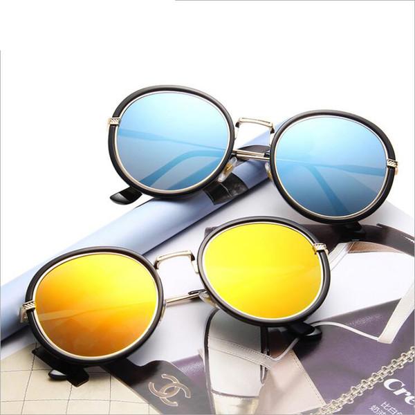 Clássico Moda Óculos de Sol Retro Aviator Óculos espelho reflector óculos de lente Round Black Vintage Outdoor Óculos de Sol de rã