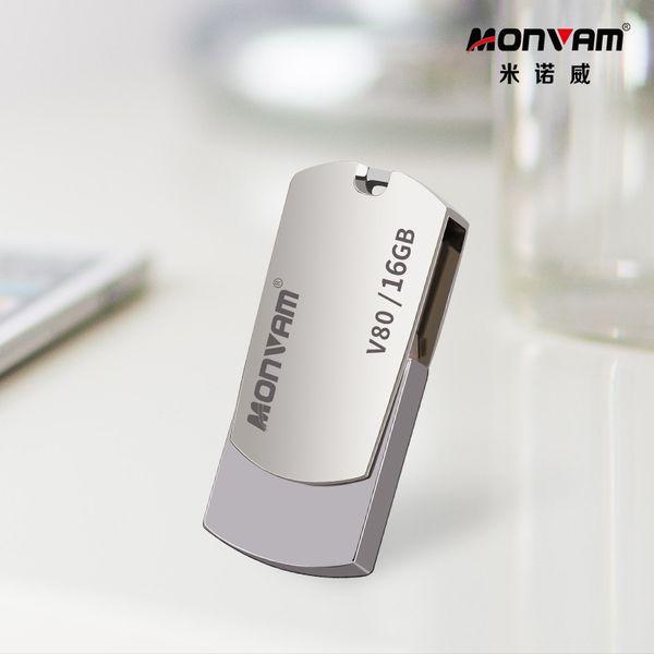 Lazer Gravür Iş Logo Gerçek Kapasite Usb Bellek Sopa Metal Pendrive USB Flash Sürücü Dönen USB Bellek Monvam V80 Için Sopa