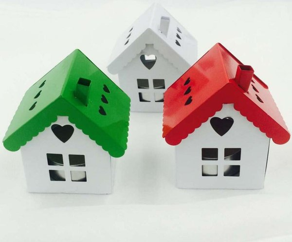"""Free Shipping 6pcs/lot Candy Packing"""" Iron Small House"""" Favor Box In Red White and Green Color"""
