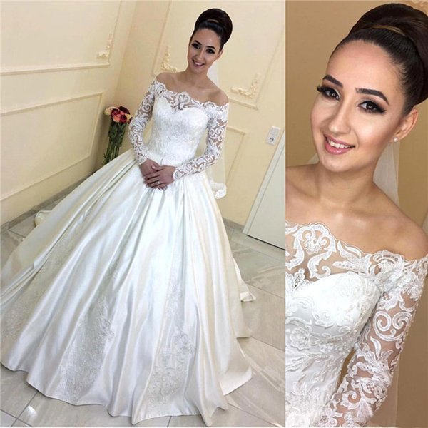 Beaded Lace Ball Gown Wedding Dresses with Long Sleeves Off Shoulder Applique A Line Backless Court Train Satin Bridal Gowns Custom