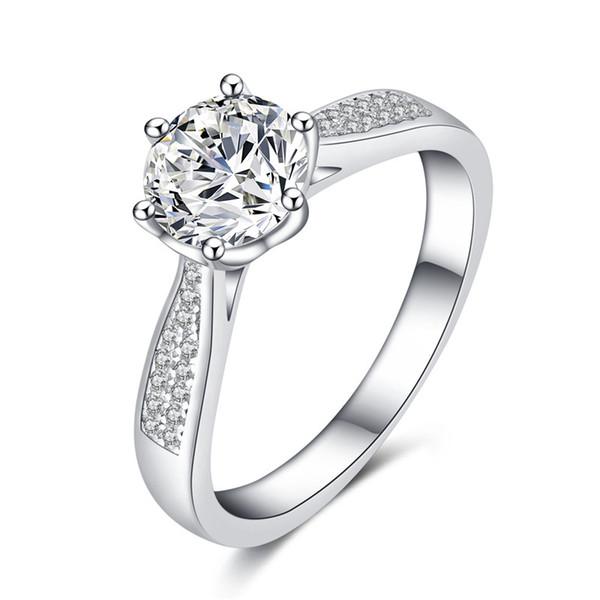 Bague en argent classique à six griffes Bague pour femme avec diamant platiné Bague de diamant super sona Bijoux de fiançailles européens et américains de luxe