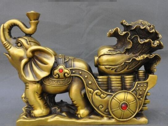"""13""""China Feng shui Brass yuanbao Coin Cabbage Wealth Lucky Elephant Statue"""