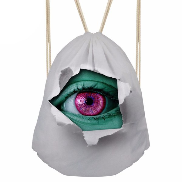 Drawstring Bag Women's 3D Eye Printing Backpack Females Small Shopping Package for Girls Cool Softback s