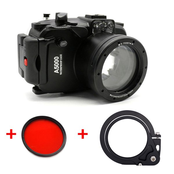 Underwater Waterproof Housing Diving Camera Case for Sony A5000 16-50mm Lens Camera + 67MM Red filter + Wet-lens Adapter Mount